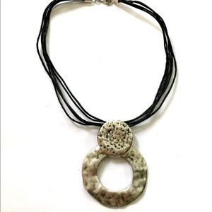 Silver Statement necklace black Cord